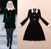 Best Quality!2014 New Autumn Winter Dress European Women Inspired Peter Pan Collar Long Sleeve Black Velvet Dress Corduroy Wear