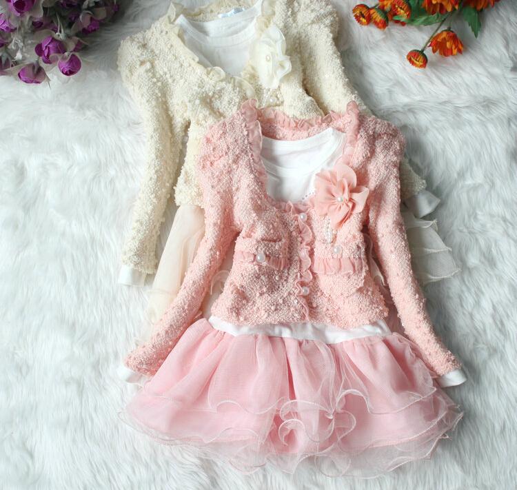 2014 bambino nuova moda ragazze 2 pezzo abiti cardigan set e abiti per bambini tutu bambino bambini abbigliamento bambini set per l'autunno