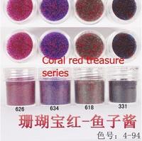 Boxed 10m l30pcs/lot Brand New 2014 summer Mini Caviar Nail Art Polish Beads Manicures 3D Nail Art Coral red series
