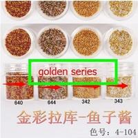 Boxed 10ml 50pcs/lot Brand New 2014 summer Mini Caviar Nail Art Polish Beads Manicures 3D Nail Art Gouache golden series