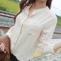 Women long-sleeved white chiffon blouse collar long shirt two pockets casual plus loose size chiffon blouse tops shirt