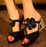 2014 Summer New Black Heel Ladies Shoes Wedges Shoe For Women High Heels Crystals Pumps Peep Toe Sandals Woman Footwear