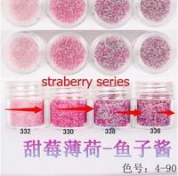 Boxed 10ml 50pcs/lot Brand New 2014 summer Mini Caviar Nail Art Polish Beads Manicures 3D Nail Art straberry series