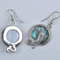 10 Pairs/lot New Fashion New Zealand MOP Abalone shell Snake Beads Dangle Earrings Wholesale