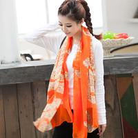 Fashion leopard print 2014 print silk scarf ultra long women's cape autumn and winter velvet chiffon scarf