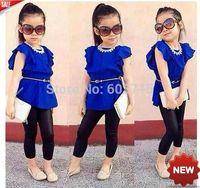 2014 new arrive children girls dress+black pants 2pcs set children cloth set children clothing children cloth summer set