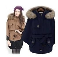 Spring 2014 New Korean Genuine Raccoon Fur Cape-Style Wool Coat Jacket Women Short Hooded Cape Pajamas Navy/Khaki Overcoat S-XL