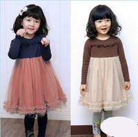 new 2014 autumn fall children girl fashion princess split tulle long sleeve dress kids girls cotton ruffle wholesale dresses lot