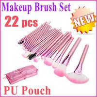 New arrival 22 pcs pink make up cosmetic makeup brush case set kit goat hair wool makeup brushes & tools professional