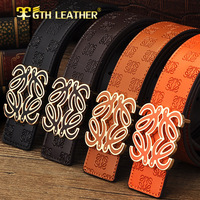 2014 New Arrivals Brand men leather casual buckle alloy belt