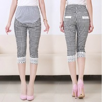 Maternity pant checked lace hem capri slim fit pants 2015 fashion