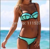 Women's Fashion Neoprene Bikinis Woman New Summer 2014 sexy Neoprene Swimsuit Set Push Up Bikini Set Hot Sale