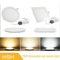 AC85-265V Frosted Cover Round Shape 15W Ceiling Mini LED Dimmable Panel Light with Power adapter 10pcs/lot,