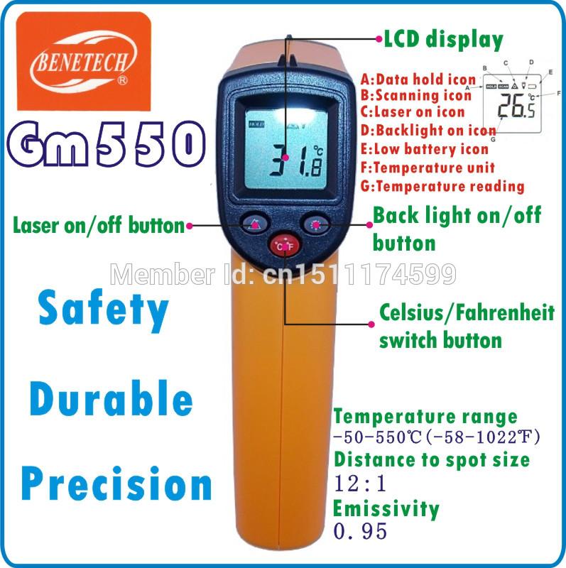 GM550 Non-Contact IR Infrared Digital Temperature Precise Gun Thermometer -50~550C (-58~1022F) 0.95 12:1 LCD display(China (Mainland))