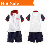 2014 retail Summer high quality polo kids fashion boy set clothing knitted T-shirt+Shorts children's clothes