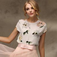Printed short-sleeved summer 2014 new European and American Slim thin section chiffon shirt blouses