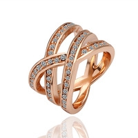 Fashion Creative Couple Ring 18K Plated Rose Gold Ful Rhinestone Crystal Engagement Rings Jewelry For Women