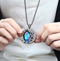 Fashion Bohemia Women hollow Moon Crystal imitation diamond Pendants Long Sweater Chain Necklaces lady Jewerly,Wholesale price!