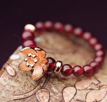 Free Shipping Original genuine natural garnet ring female gold-plated lotus decorative jewelry national wind Hi Quality(China (Mainland))