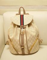 Korean Fashion Canvas Pu Leather Side zipper Pockets Printing Backpack Letter School Bag for Girls Lady Travel Bag b201