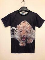 2014 3d fashion popular leopard pattern teenage summer short-sleeve T-shirt all-match basic t shirt short