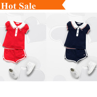 New arrival 2014  new  fashion casual kids brand girl's set clothing T-shirt+shorts suit 2 pcs Children's clothes