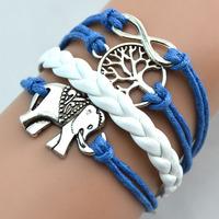 silver infinity blue Wishing trees bracelets, elephants Infinity leather rope bracelet bangles, the best gift
