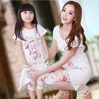 New 2014 Family Set Summer Mother and Daughter cartoon Cat clothes Children Kids T Shirts + Flower Leggings Girls Sets