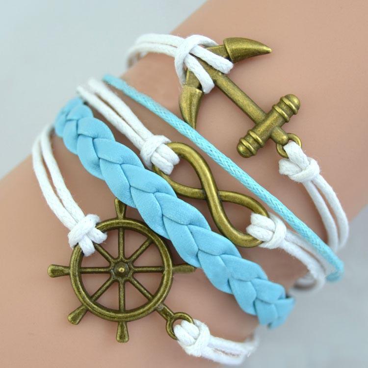 Fashion Jewelry Vintage Bronze Rudder Anchor Weave Blue White Leather Charms Bracelet & Bangles DIY(China (Mainland))