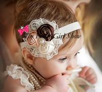 Trail Order 10PCS/LOT Infant Toddler Baby Headband Satin Ribbon Rose Flower Headbands Rhinestone Baby Girls Hair Accessories