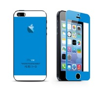 Blue Colorful 0.3mm Real Tempered Glass Film Strong Protective Screen with Back Protector for iPhone 5 5s