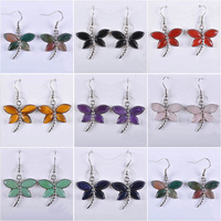 10 Pairs/lot New Fashion Mixed stones Tiger eye stone Agate Rose Quartz Amethyst Beads Dragonfly Dangle Earrings Wholesale