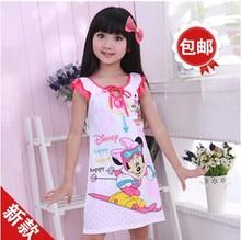 Children's summer cotton Lycra cotton nightgown pajamas girls strap children(China (Mainland))