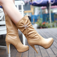 Black White Camel Large Size Women Hot Sale Fashion Boots Spring and Autumn Rhinestone Solid Ladies High Shoes W1812-5