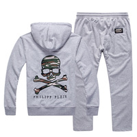 PP New arrival 2014 Camouflage edition skull applique embroidery male pattern with a hood sweatshirt health pants set tracksuit