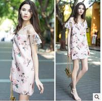 New!  2014 summer Print Dress  European station for ladies silk strapless dress  Plus Size  XL