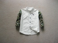 free shipping BT4038  kids  Boys  spring autumn camouflage sleeve white shirt