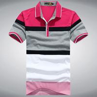 2014 Men Fashion lapel short-sleeved, striped men's compassionate