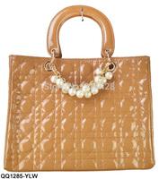 3 Color 100% Noble Elegant Pearls Decoration Bags Classical PlaidWomen Handbag  Free Shipping  QQ1285