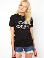 new summer women cotton Homies Letter printing short T-shirt fashion size xs s m l xl