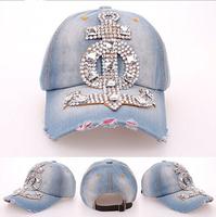 2014 new Fashion Retail Diamond Point Anchor cowboy denim caps women baseball caps men Hat rhinestone print baseball hats