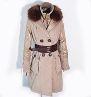 down coat female fashion raccoon fur three-dimensional cut long patchwork design