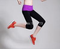 Modal color block decoration women elastic sports fitness running pants yoga pants capris sports pants
