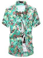 Summer 2014 New Men Shirt Fashion Korean Slim Floral Shirts Male Clothing Beach Colorful Cotton Short Sleeve Hawaiian AX87 M-2XL