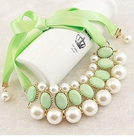 2014 New 2 Colors Fashion Western statement elegant Pearls Candy Color choker bib Pendant Chain necklace jewelry wholesale