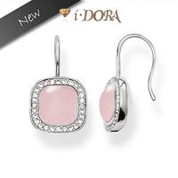 2014 New Arrival  fashion silver plated dangle earrings jewelry diamante Geometric Earrings TB8163 pink