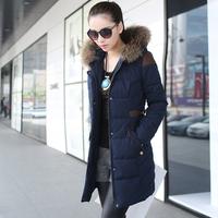 Evergreen 2013 winter outerwear fur collar wadded jacket women's medium-long wadded jacket female