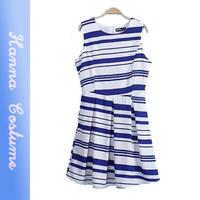 New arrival 2014 summer preppy style striped women mini dresses sleeveless woman a-line dress saias femininas