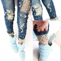 2014 Trendy  Women's Casual Skinny Leopard Hole Slim Pencil Jeans Pants Ladies Denim Trousers Free Shipping Retail and wholesale