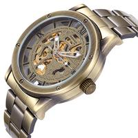 HONG KONG POST 2014 Brand Luxury  Automatic Mechanical Self Wind Skeleton Men Gold Dress Watch Men Full Steel Watch